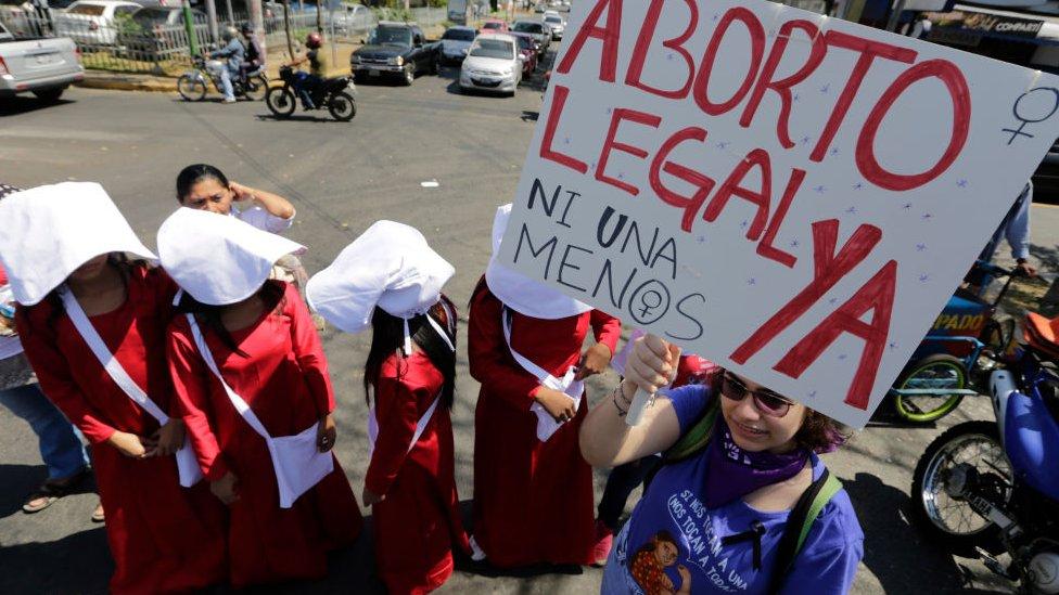 Marcha a favor del aborto en Managua.