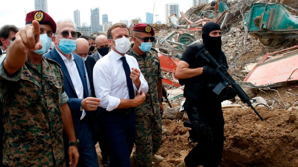 Emmanuel Macron en Beirut.