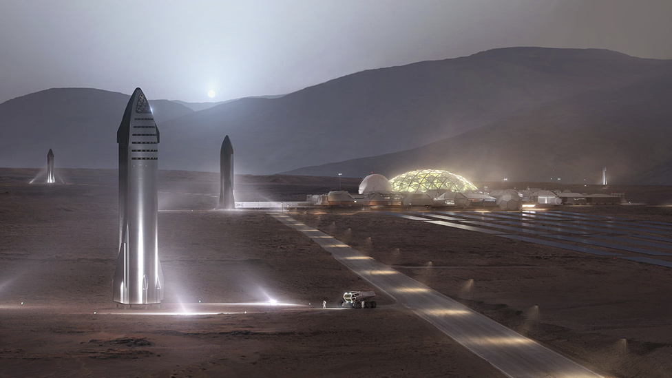Concepto futurista de Space X en Marte.