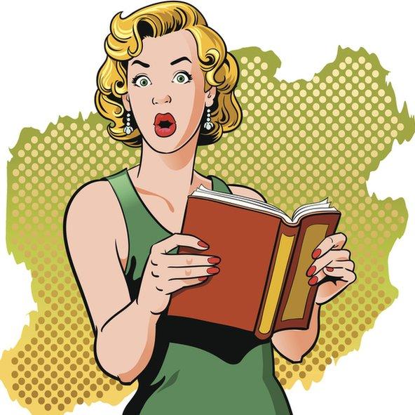 Dibujo de mujer lee un libro sorprendida.