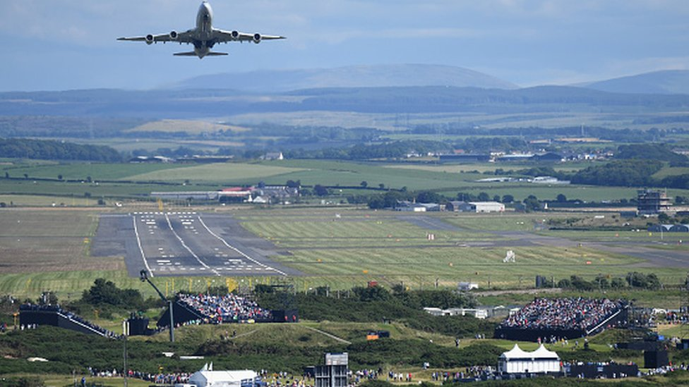 Cargo plane taking off from Prestwick Airport