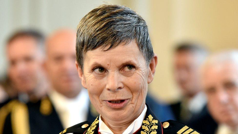 Major General Alenka Ermenc, newly appointed as chief of the Slovenian Army, looks on in Ljubljana, Slovenia, November 23, 2018