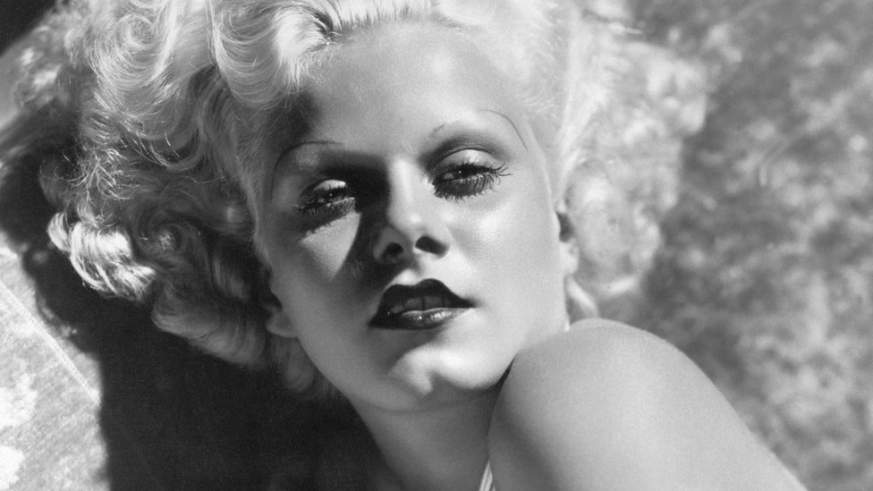 Jean Harlow poses in black and white photograph for 'blonde bombshell' promo shot