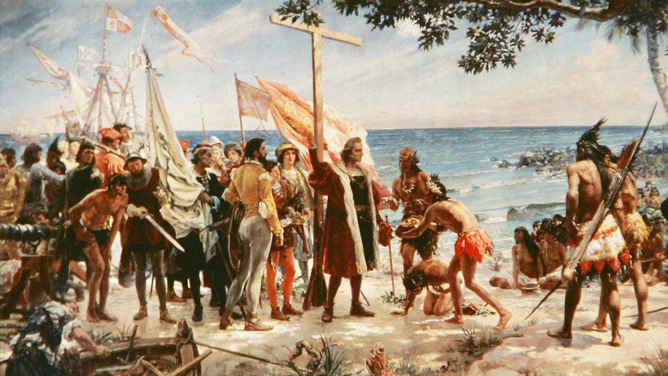 Pintura sobre la llegada de Colón a las Américas.