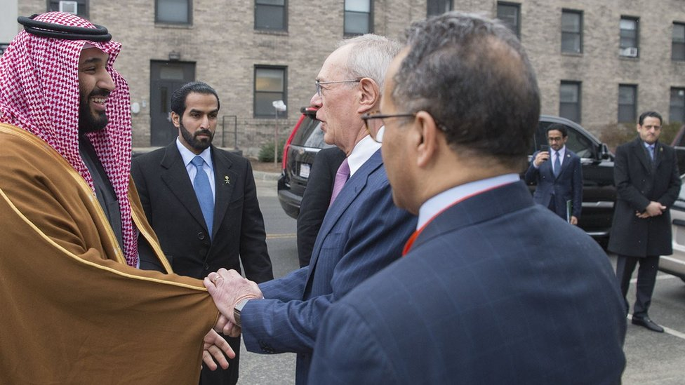 Saudi Crown Prince Mohammed Bin Salman is welcomed to the Massachusetts Institute of Technology (MIT) on 25 March 2018