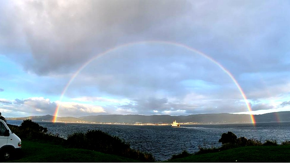 Rainbow over Largs from Cumbrae ferry terminal