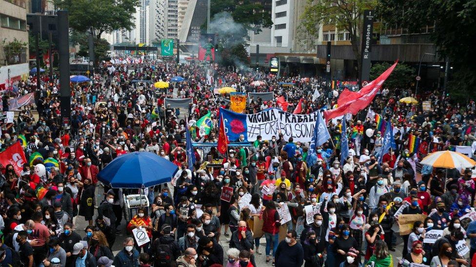 Protesta contra el gobierno de Bolsonaro este sábado en Sao Paulo.