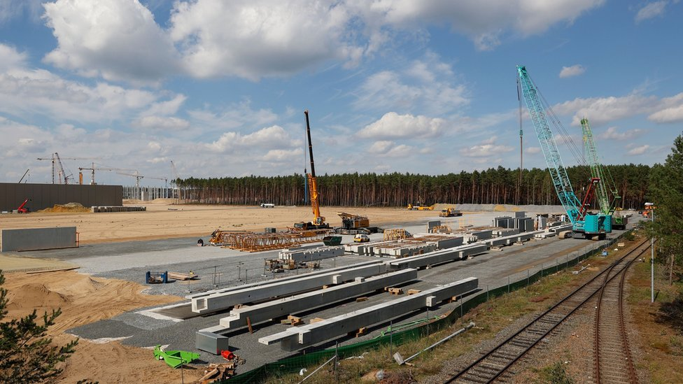 An overview of the construction site of the future US electric car giant Tesla is pictured on September 03, 2020, in Gruenheide near Berlin