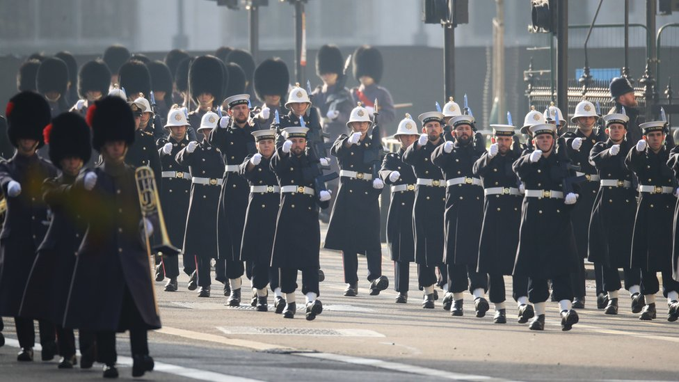 Members of the Royal Navy march down Whitehall ahead of the Remembrance Sunday service