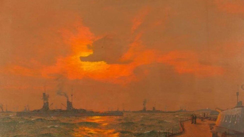 The German Fleet at Anchor off Inchkeith, Firth of Forth: After the Surrender, 22 November 1918, by Charles Pears