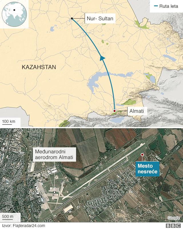 mapa nesreće u Kazahstanu