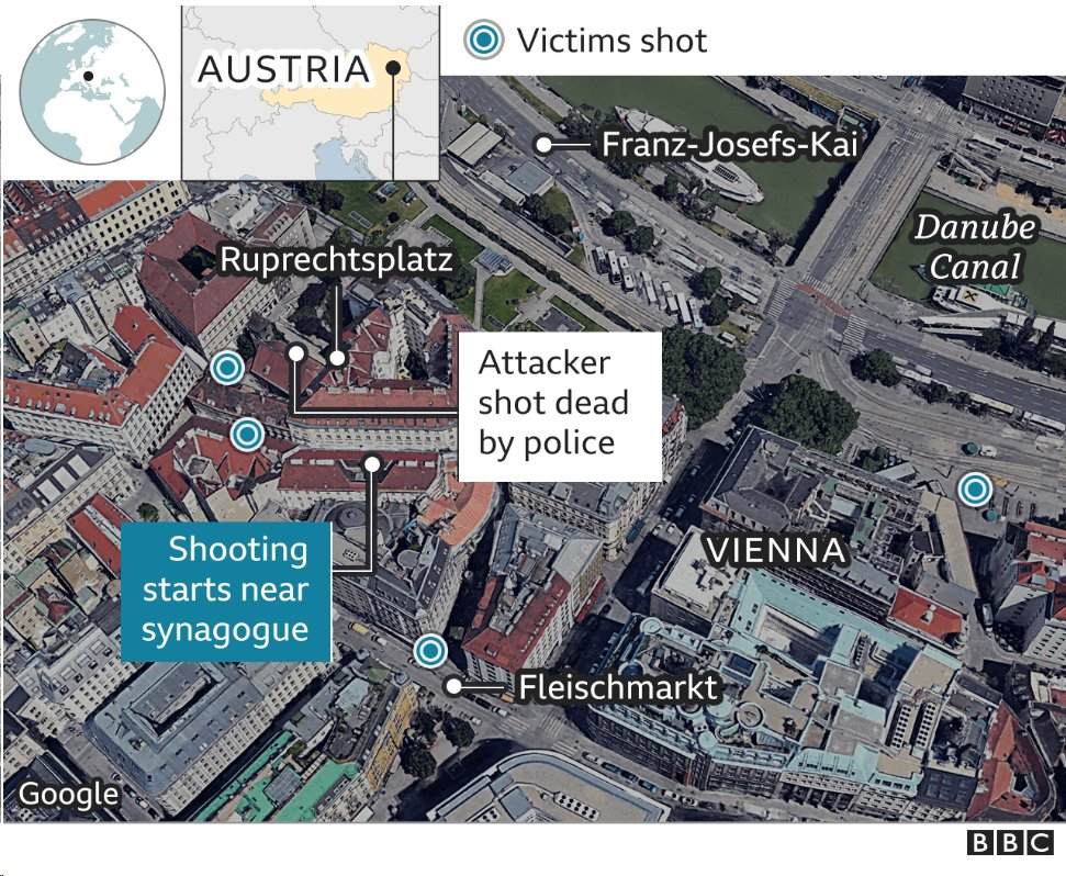 Map showing crime scene in Vienna