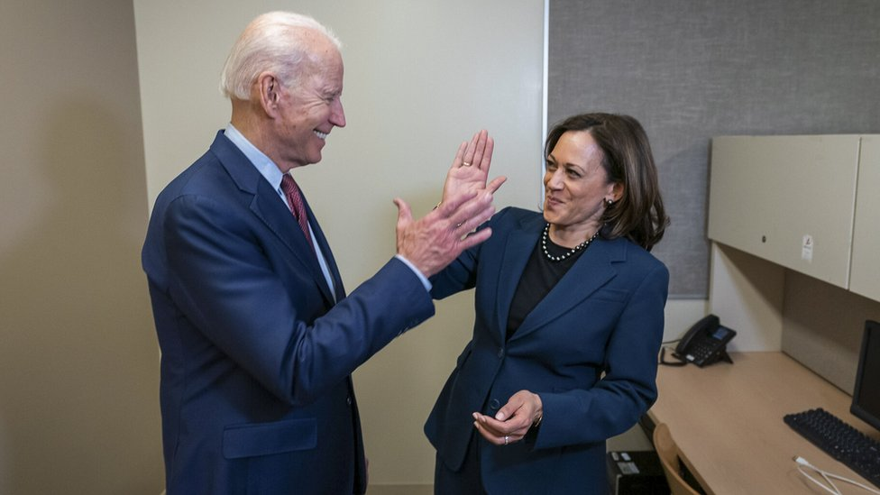 An undated handout photo made available by the Biden Harris Campaign shows former US Vice President and presumptive Democratic candidate for President Joe Biden with California Senator Kamala Harris