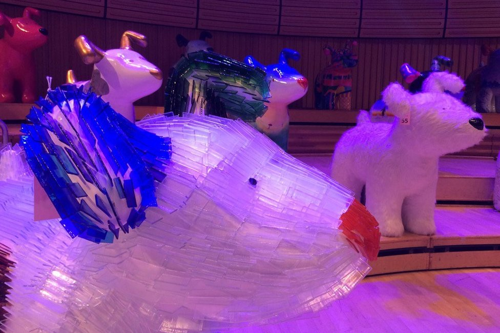 A selection of snowdogs on stage at the Sage Gateshead