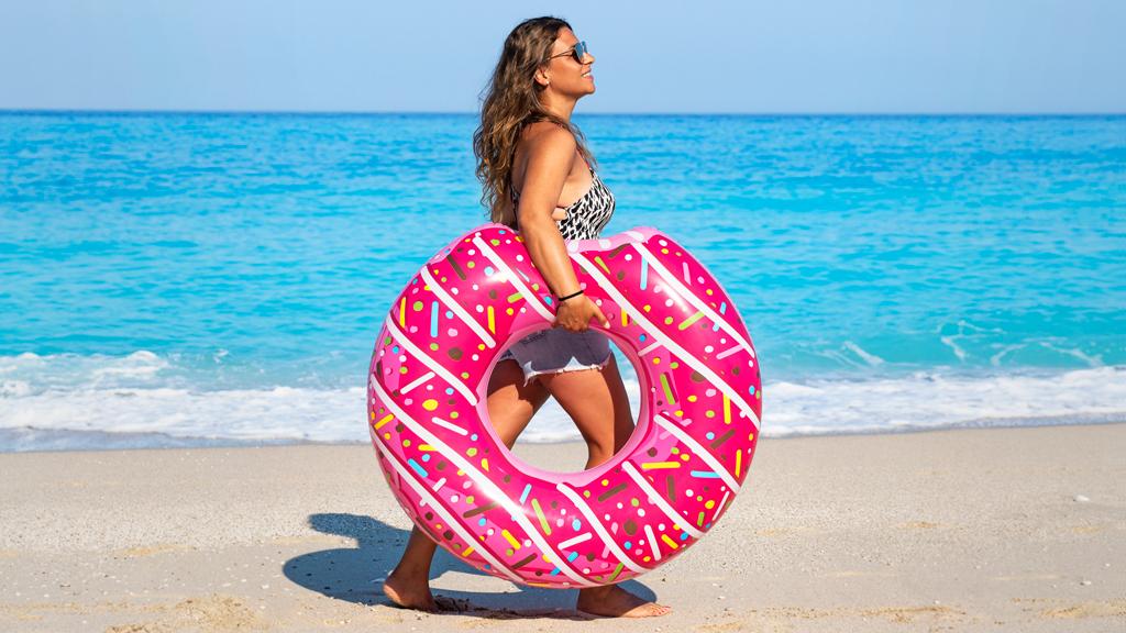 Woman on Greek beach