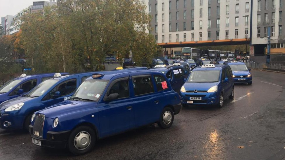 Taxi drivers at the St James Barton Roundabout, Bristol