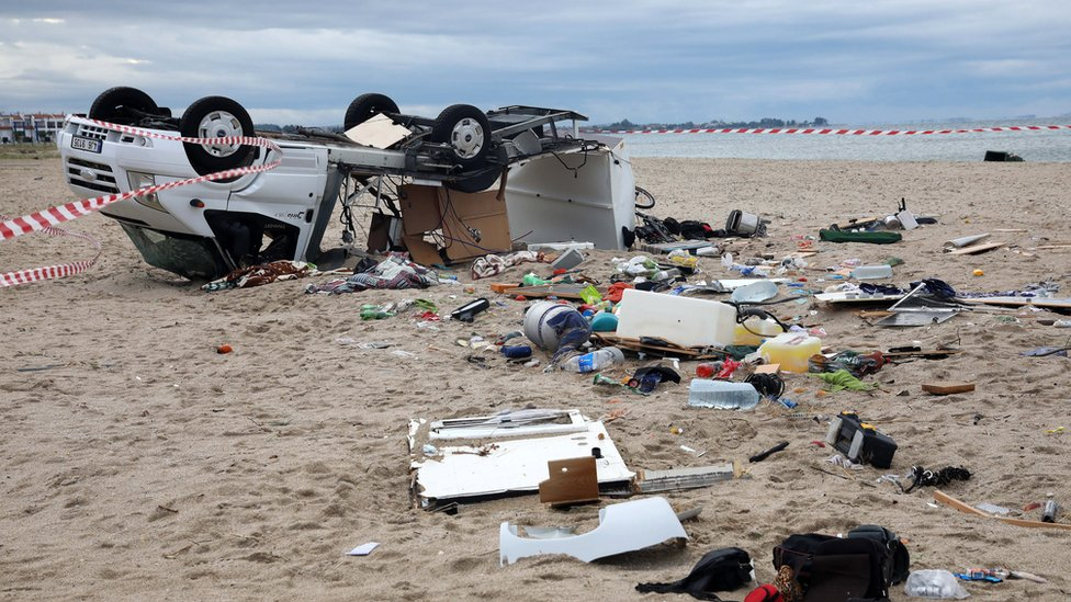 The damaged caravan of two elderly Czech tourists who were killed when strong winds and water swept away vehicle