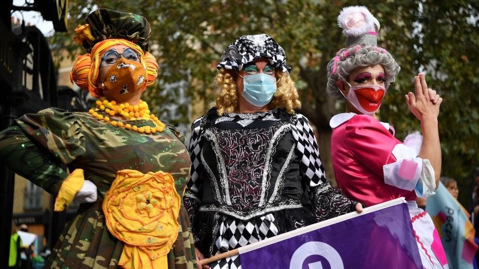 Pantomime dames marching in London