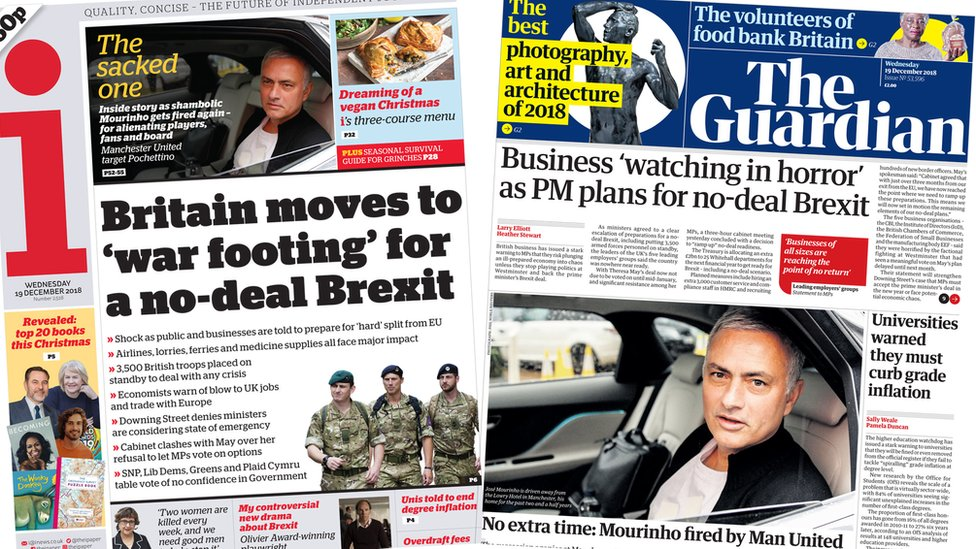 Newspaper headlines: Brexit 'war footing' and 'the sacked one'