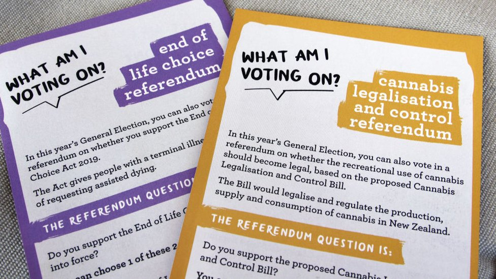 New Zealand Electoral Commission information materials on the End of Life Choice (euthanasia) and Cannabis Legalisation and Control referendums, voted on as part of Election 2020.