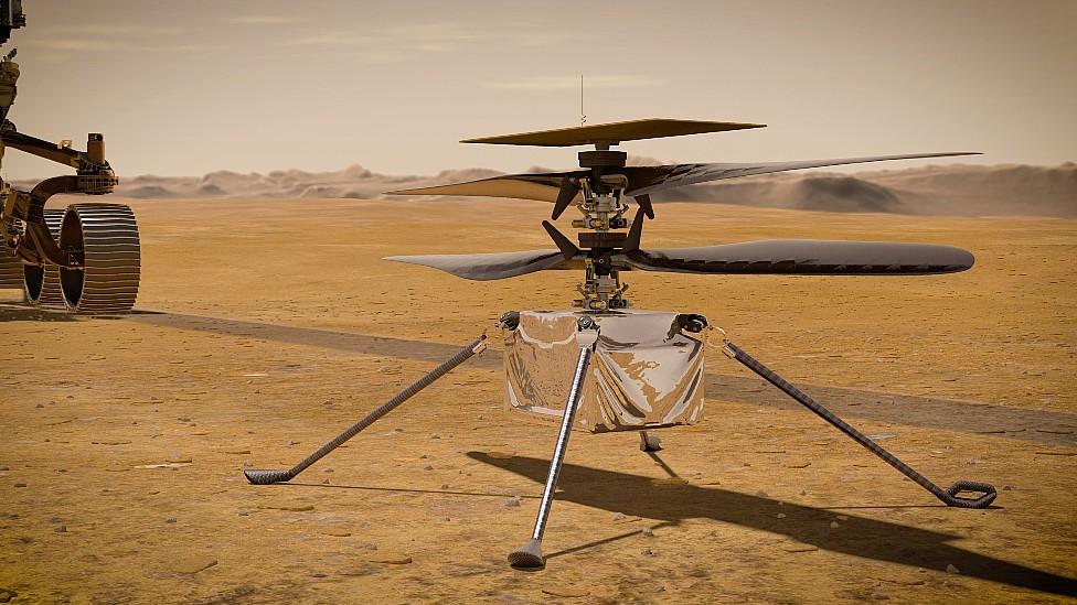 Ilustración del helicóptero que llevará Perseverance