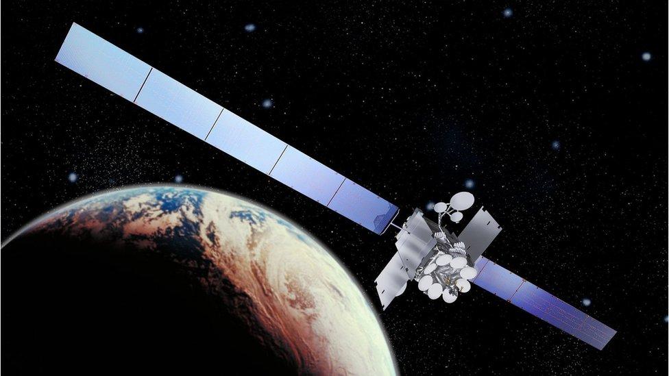 A visualisation of an Inmarsat satellite in low Earth orbit