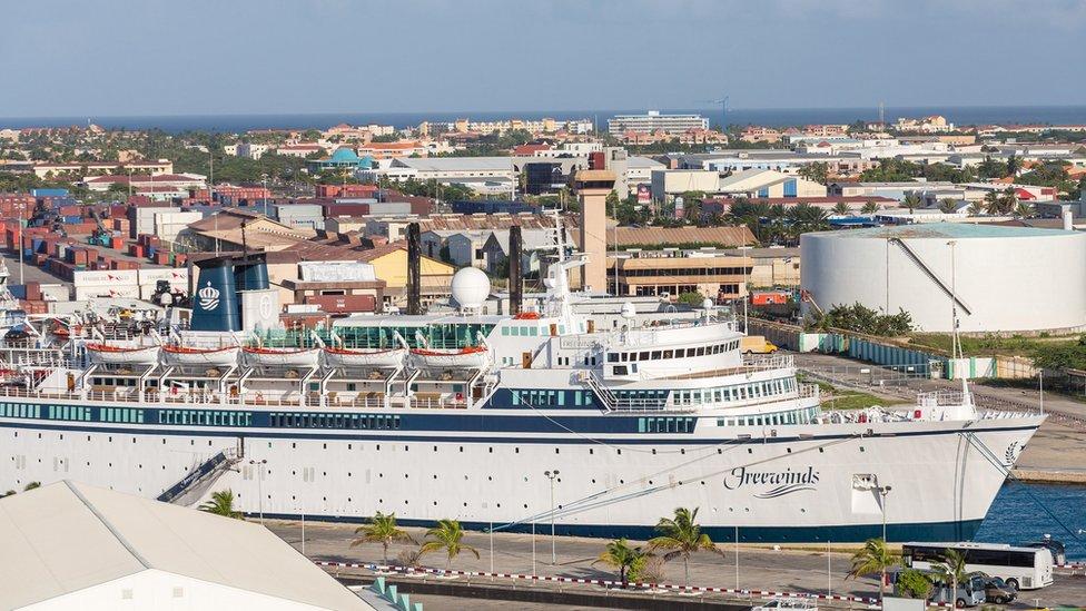 Freewinds docked in the port of Aruba in 2014