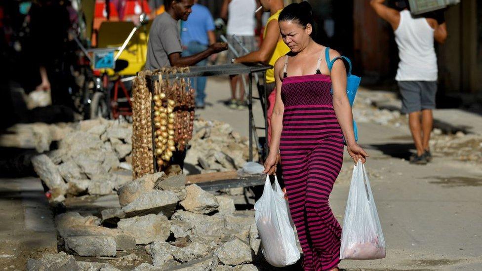 Mujer con bolsas de comida.