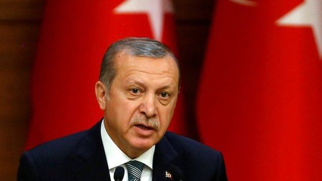 President Erdogan spoke from the presidential palace on Friday