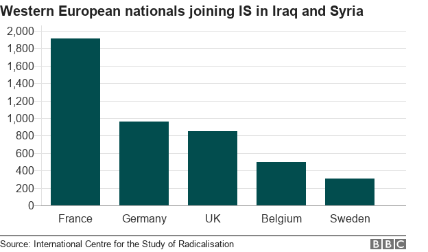 Bat chart showing countries in Western Europe with the highest number of nationals joining IS in Iraq and Syria