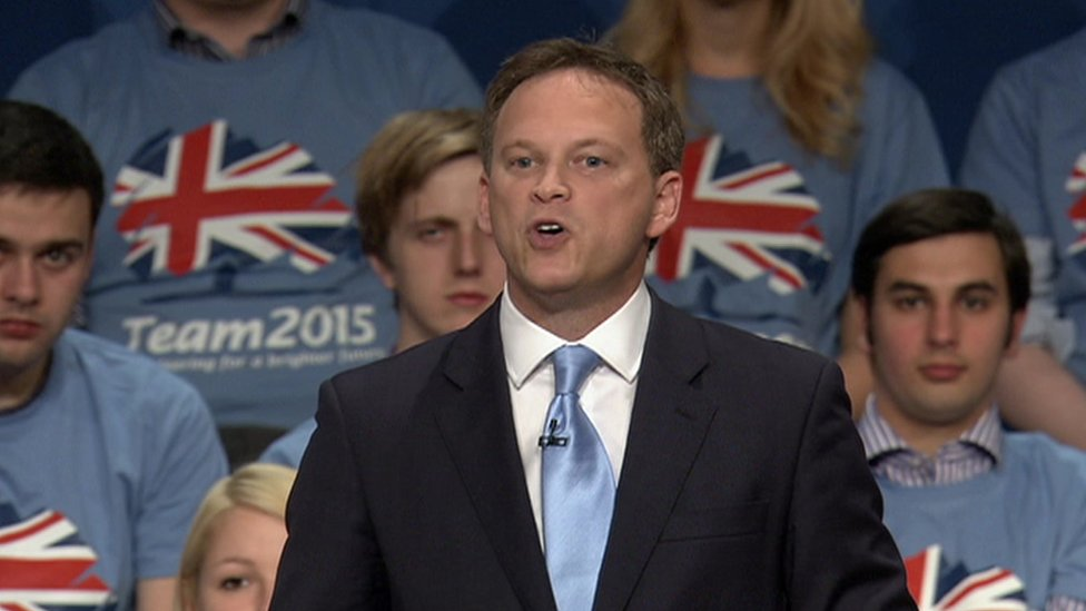 Grant Shapps addressing the Conservative Party conference in 2014 with Elliott Johnson seated to his right