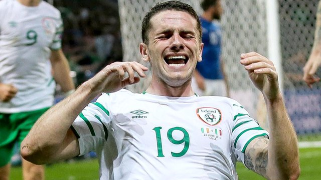 Robbie Brady celebrates the goal that gave the Republic of Ireland victory over Italy