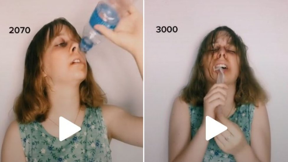 On the left Anna is shown drinking water from a plastic bottle and on the right she is choking on plastic.