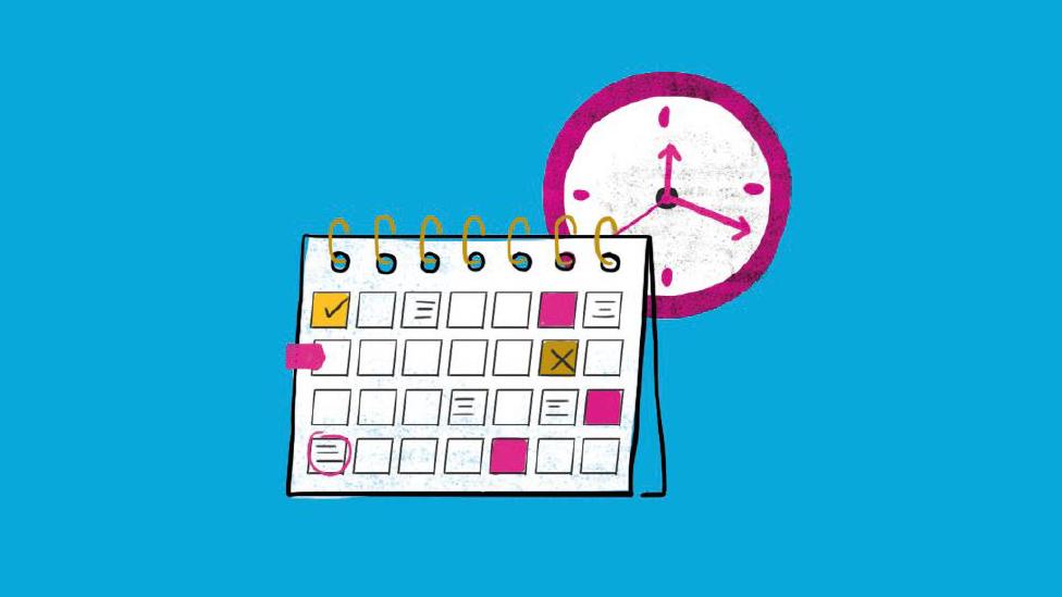 Ilustración de un calendario y un reloj.