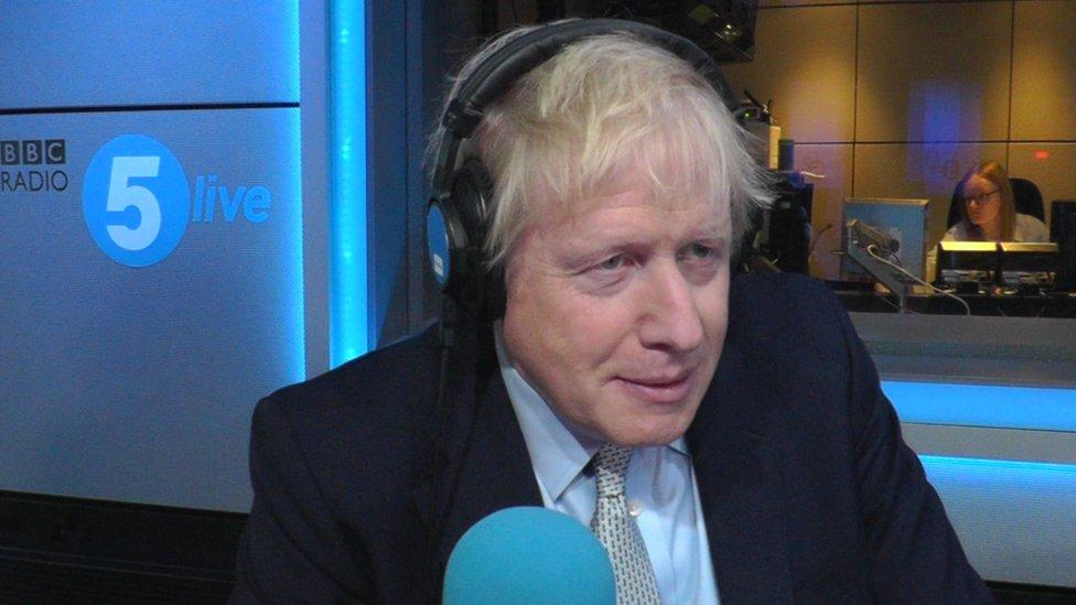 Boris Johnson in the 5Live studio