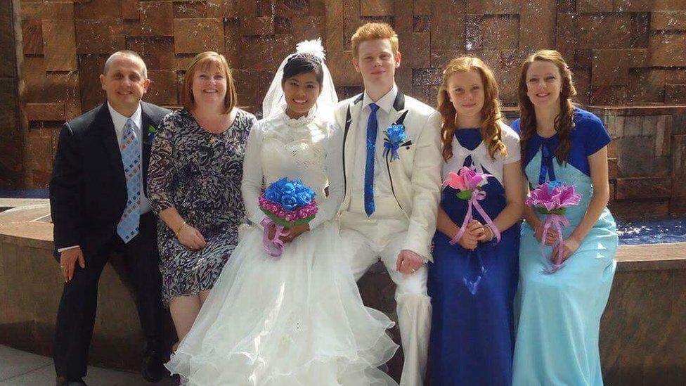 Ian and Gigi on their wedding day