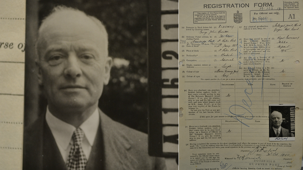 George Ridgway's occupation id registration form and picture