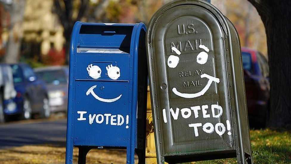 Two painted mailboxes in Denver, Colorado, in 2012