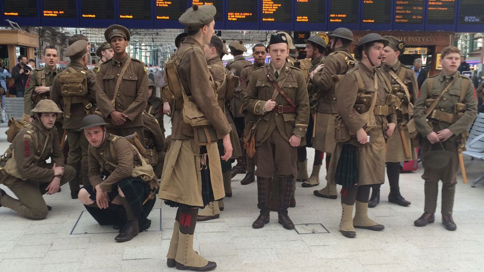 'Ghost Tommies' at Glasgow Central Station in Scotland