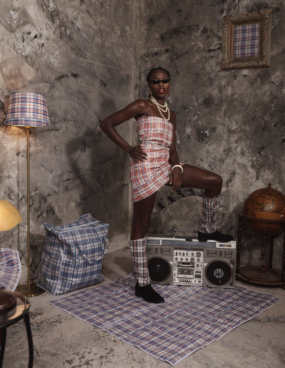 Model in Ghana Must Go fabrics