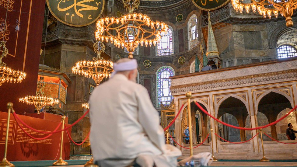 A worshipper prays during the first Muslim prayers in Hagia Sophia, in Istanbul, on July 24, 2020