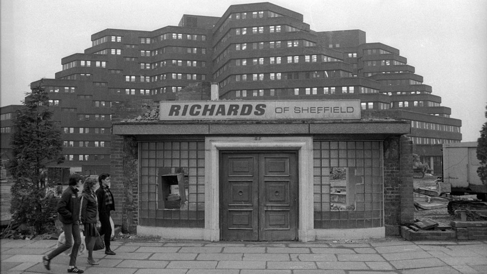 All that remained of Richards Cutlers, Charter Row, Sheffield after demolition