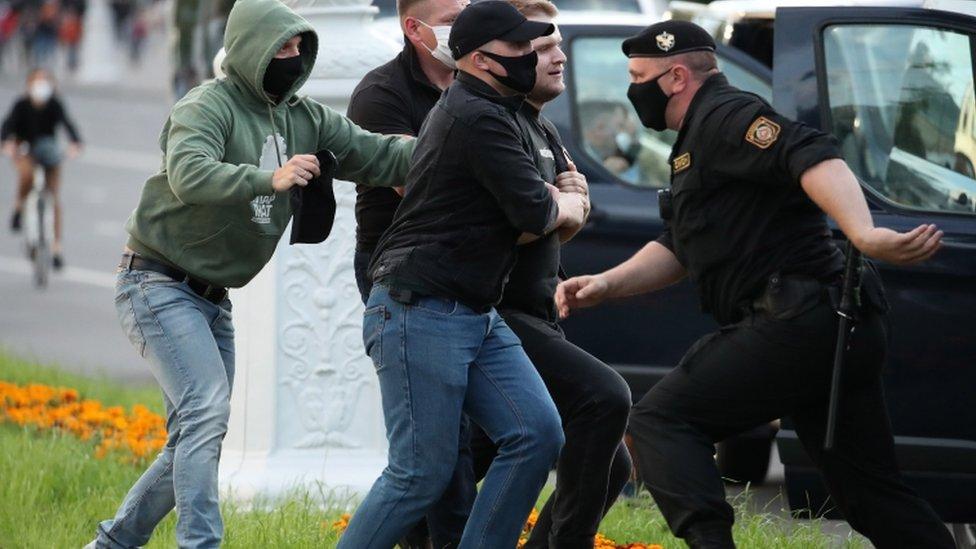 Protestas en Minsk, Bielorrusia