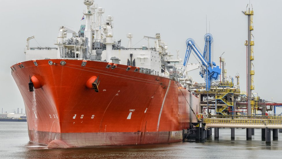 A liquefied natural gas tanker ship in port