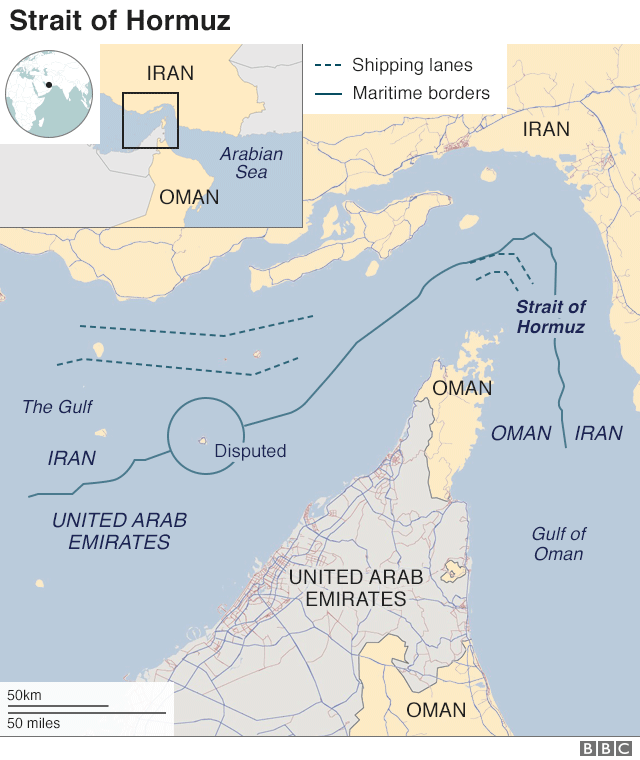 Map showing the Strait of Hormuz