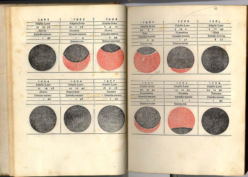 Estas dos páginas del almanaque de Regiomontano describen los eclipses de Sol y Luna. En el extremo derecho inferior está señalado el eclipse de Luna del 29 de febrero de 1504 que utilizó Cristóbal Colón.
