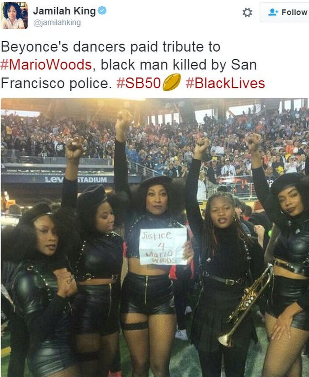 Tweet showing Beyonce's backing dancers calling for justice over police shooting - 7 February 2016