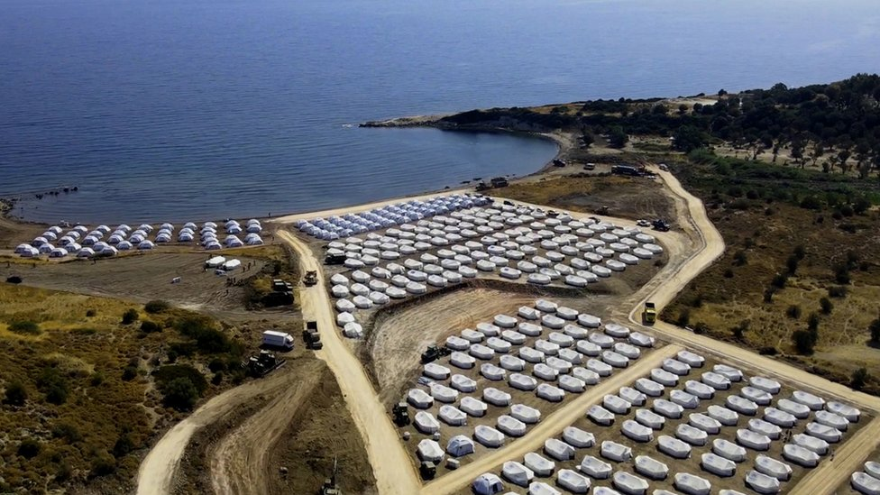 An image taken with a drone shows an aerial view of the new temporary camp near Kara Tepe