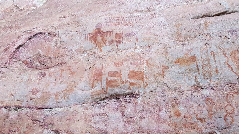 Veruje se da su na zidovima slike zmija, velikih ptica, jelena