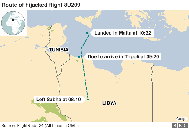 Map showing flight path from Libya to Malta